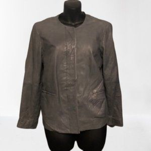 Lucky Brand Faux Leather Grey Jacket Size …
